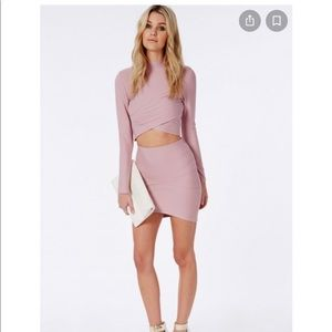 Missguided bandage wrap over crop top & skirt